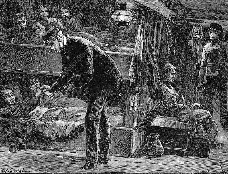 Taking the pulse of a sick Irish emigrant on board ship