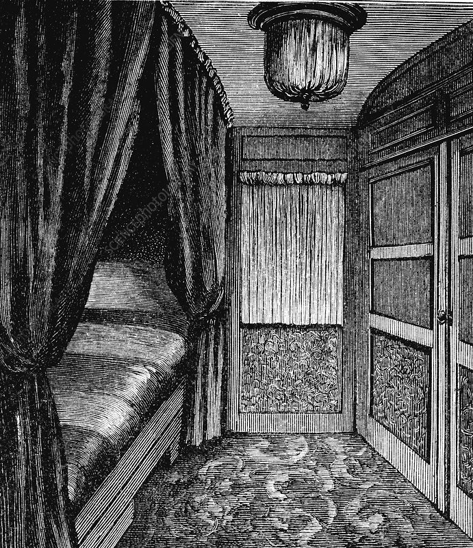 Sleeping compartment on the Orient Express, c1895