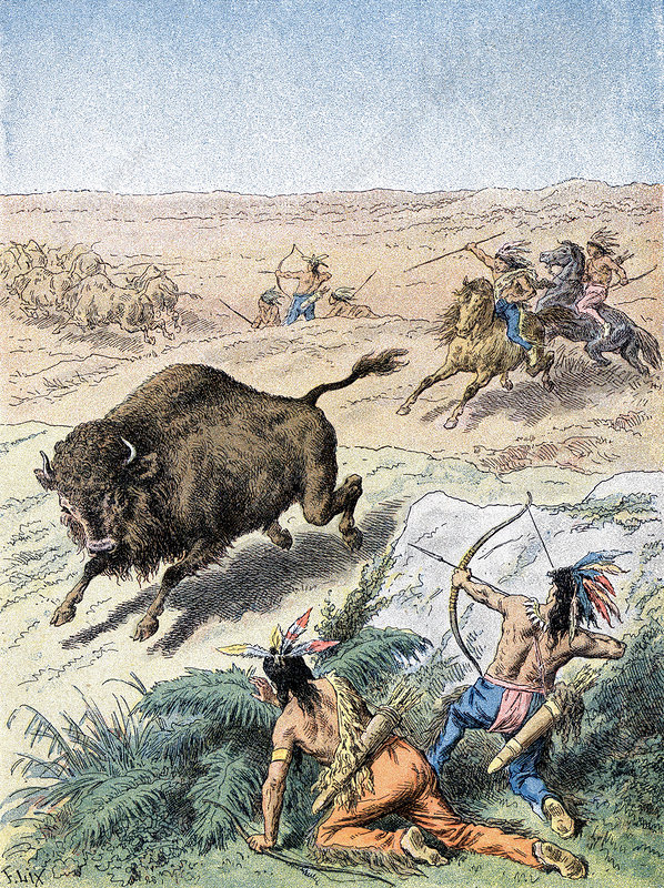 North American Indians hunting buffalo, c1870