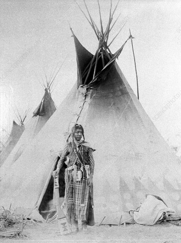 Black Foot outside his tent, North American Indian, c1885-90