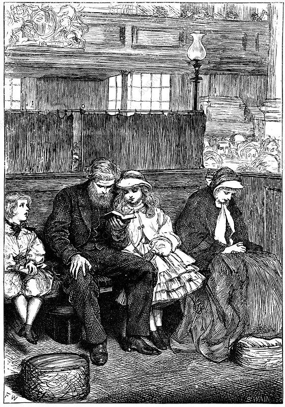 Family at Sunday church service, London, 1862