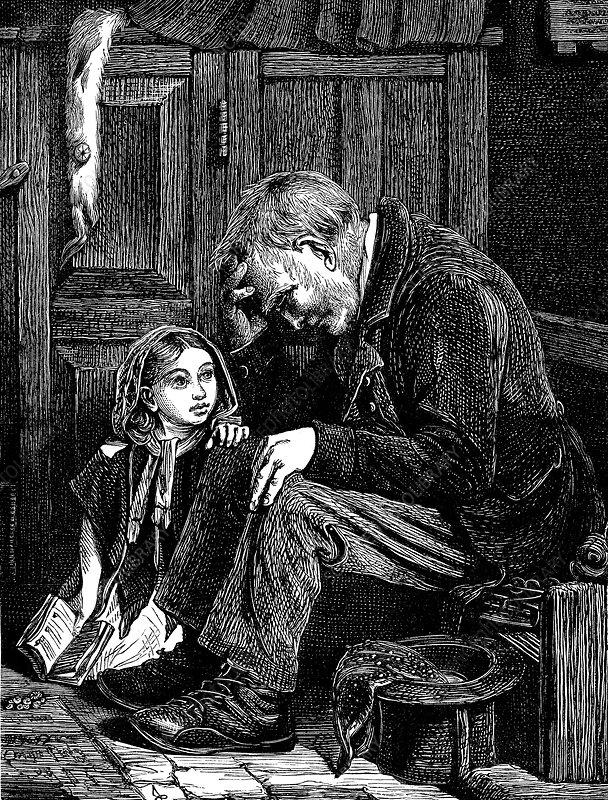 Man at church sitting in 'free' seat, London, 1872