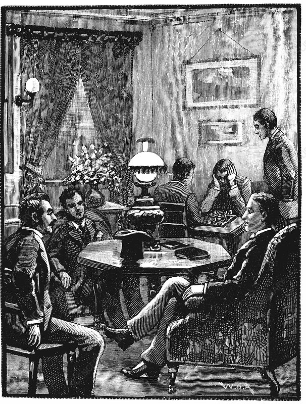 Sitting room at YMCA, Exeter Hall, London, 1887