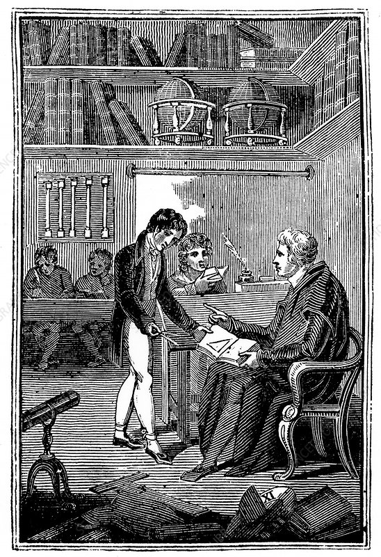 Schoolmaster and pupils, c1820