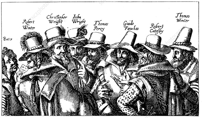 Guy Fawkes and the Gunpowder Plotters, 1605