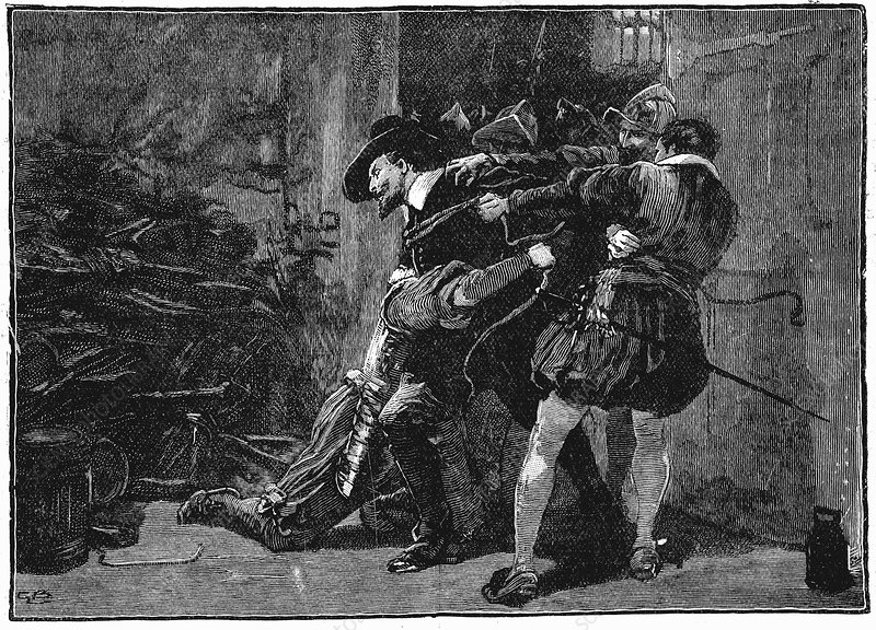 Arrest of Guy Fawkes in cellars of Parliament, 1605