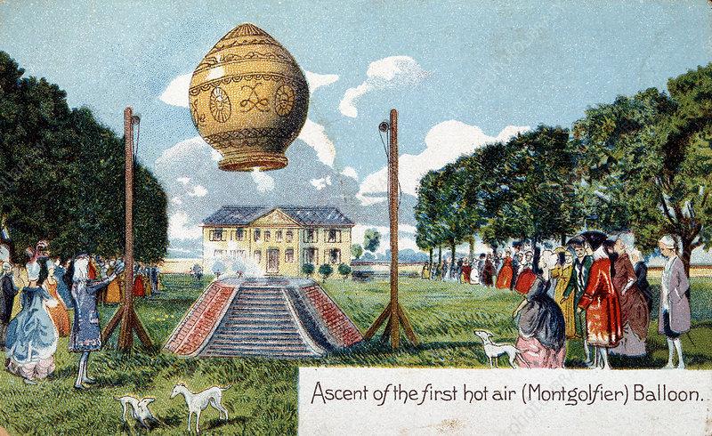 First ascent of Montgolfier hot air balloon, 21 November 178
