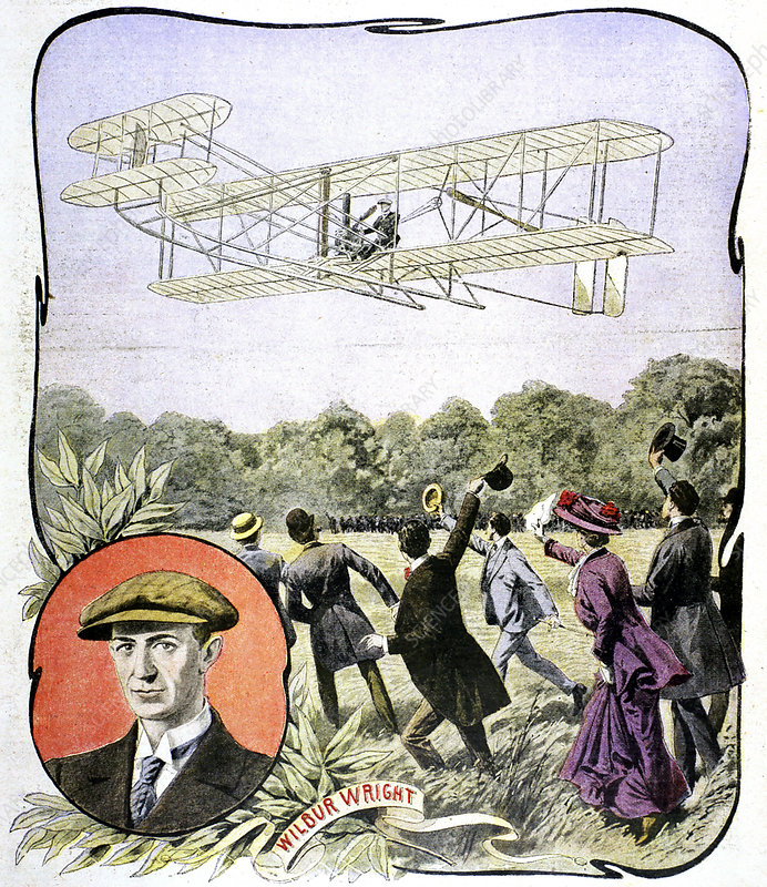 Wilbur Wright's first flight in Europe, France, 1908