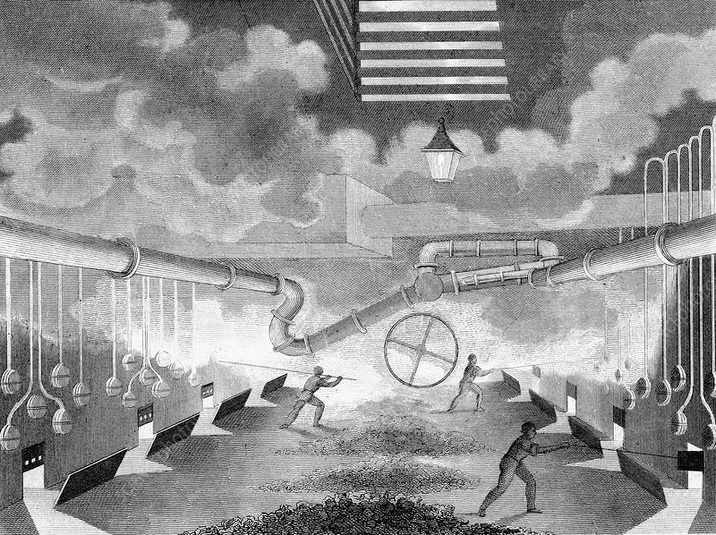 Gas works, showing retorts being charged, 1835