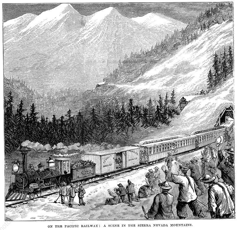 Central Pacific Railraod, Sierra Nevada mountains, c1875
