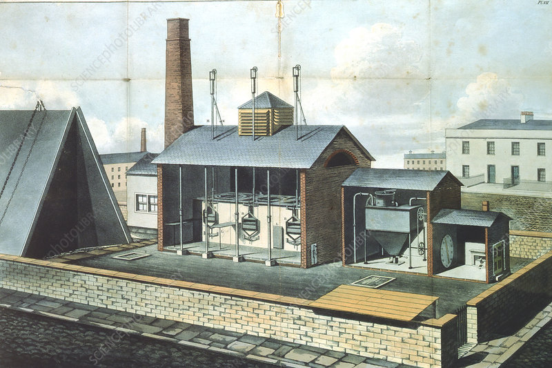 Gas works for lighting town or large district, 1819