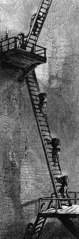 Women climbing ladders to carry coal up a mineshaft