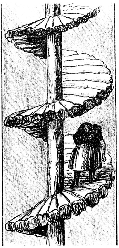 Woman carrying coal up a 'turnpike' spiral stair, 1848