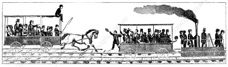 Race between locomotive and horse-drawn carriage, 1829