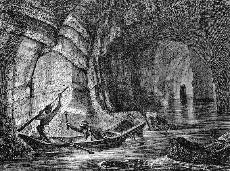 Subterranean river in the Mammoth Cave, Kentucky, USA, c1870