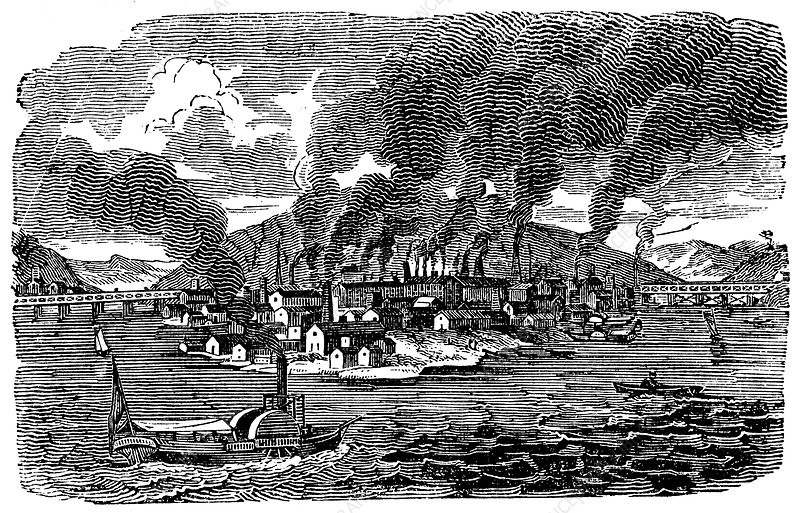General view of Pittsburgh, Pennsylvania, USA, 1833