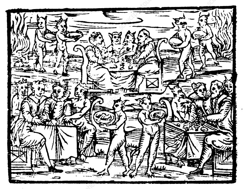 Witches and sorcerers feasting at the Sabbath, 1608