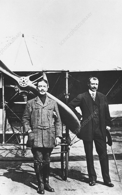 Louis Bleriot, French aviator and Adolphe Pegoud, air ace