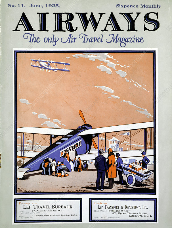 Loading a biplane at Croydon Aerodrome, London