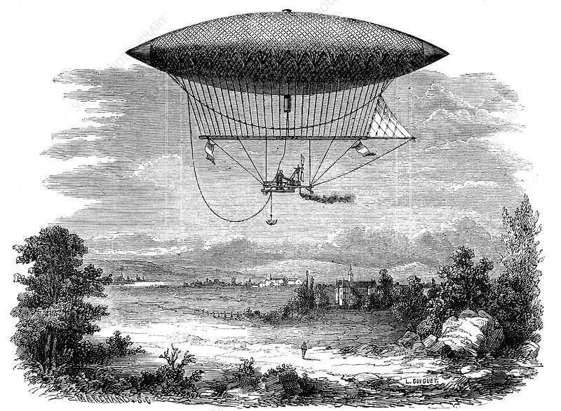 Henri Giffard's steam powered steerable airship, 1852