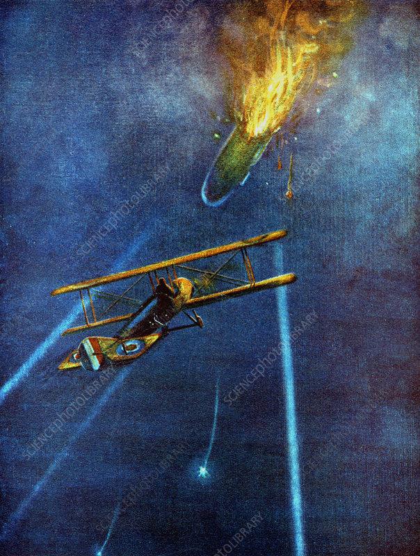Zeppelin airship shot down at Cuffley, Enfield, London, 1916