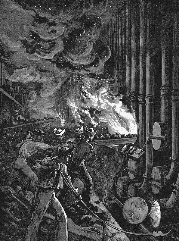 Charging the retorts at the Beckton gasworks, London, 1878