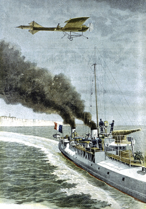 Hubert Latham attempting to fly the English Channel, 1909