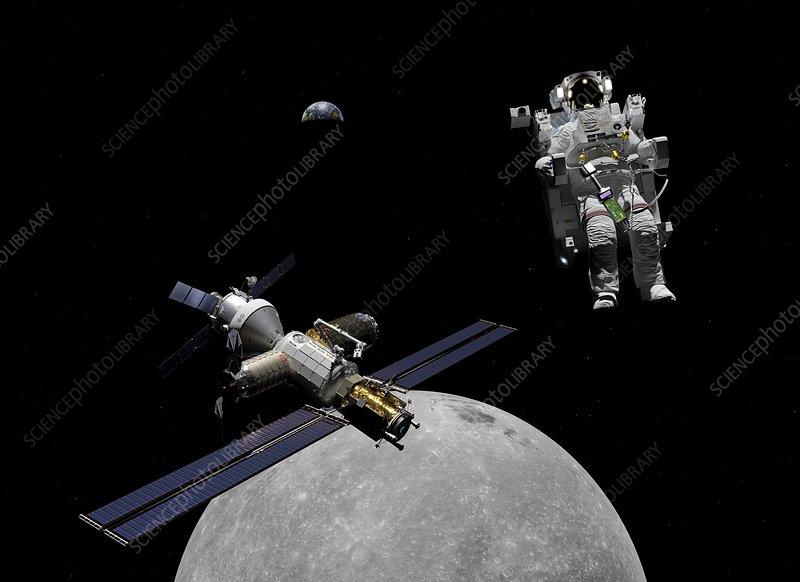 Lunar Orbital Platform-Gateway spacewalk, illustration