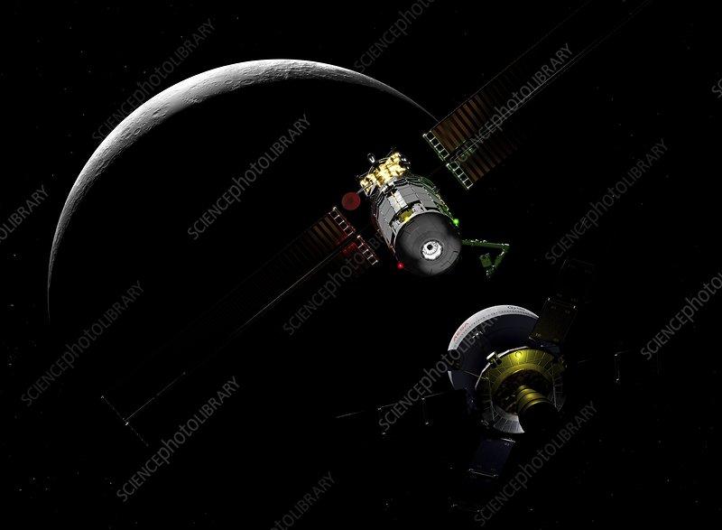 Lunar Orbital Platform-Gateway and spacecraft, illustration