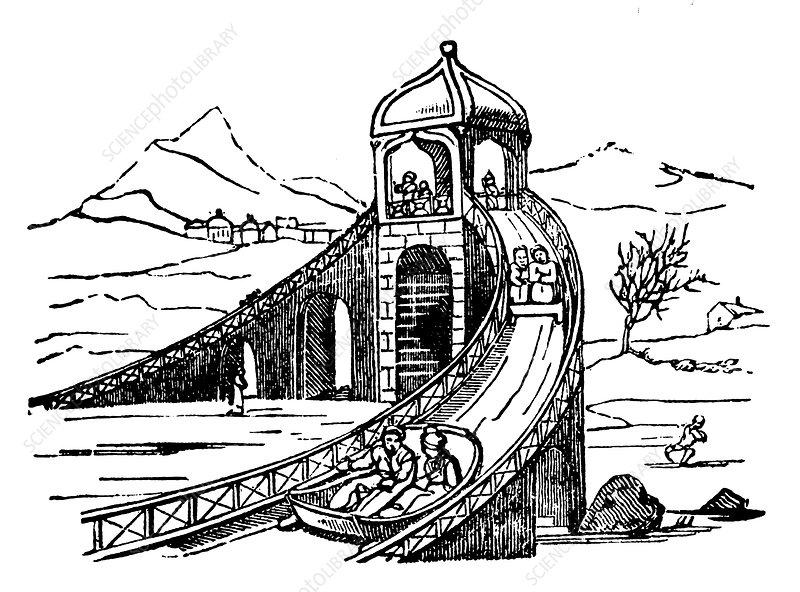 Ice Mountain', artificial sledge run, Russia, 1836