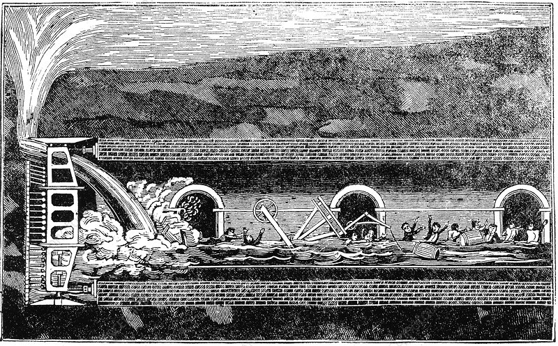 Flooding during the excavation of the Thames Tunnel, London