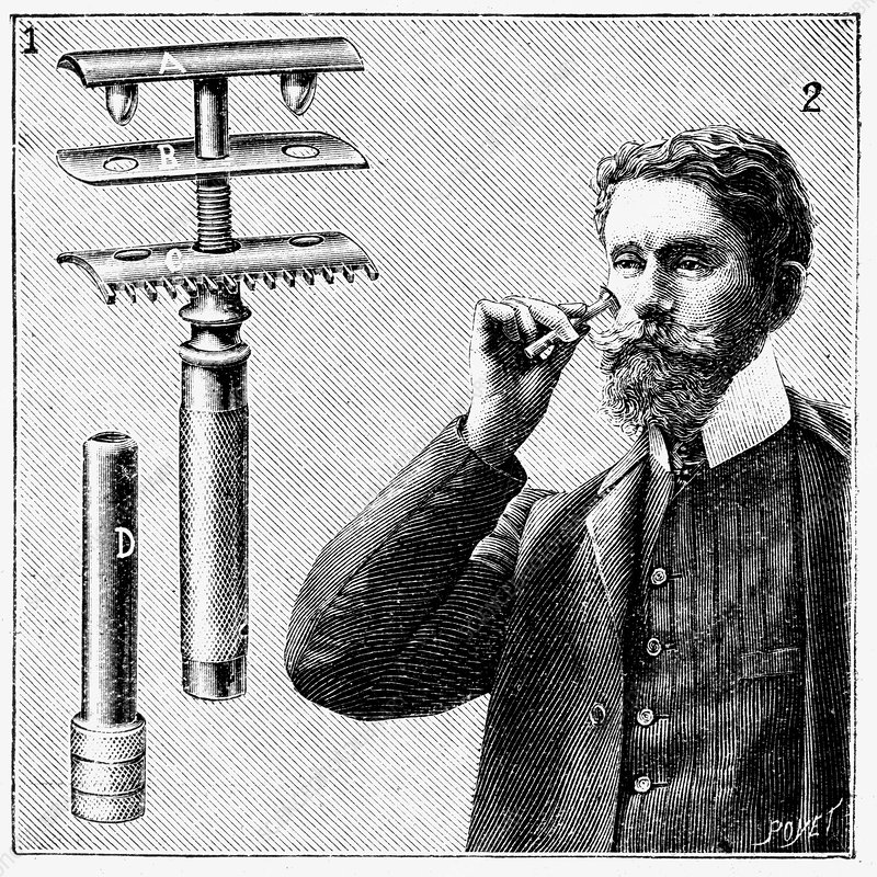 King Gillette's safety razor with replaceable blade, 1905