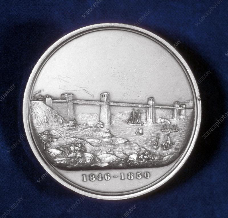 Medal commemorating building of the Britannia Tubular Bridge