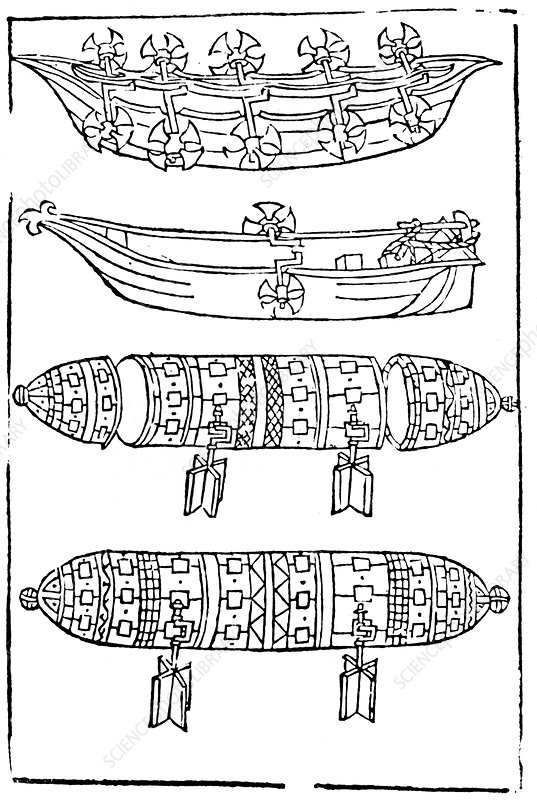 Various forms of paddle boats for use in war, 1483