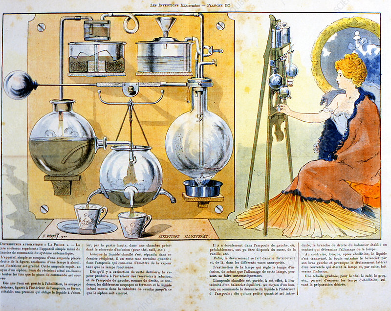 Coffee or tea making machine heated by a small spirit lamp