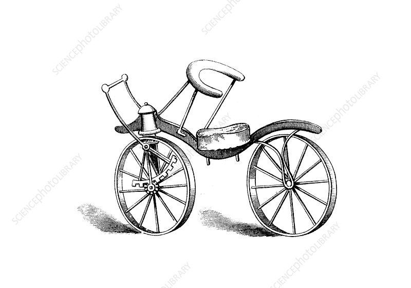 Lewis Gompertz's improvement on Baron von Drais's bicycle