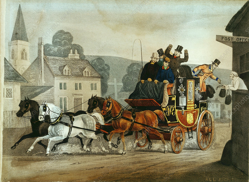 Mail coach on the Bath to London run, c1840