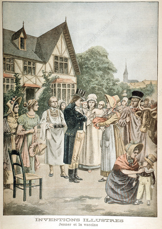Edward Jenner vaccinating child with Cowpox serum