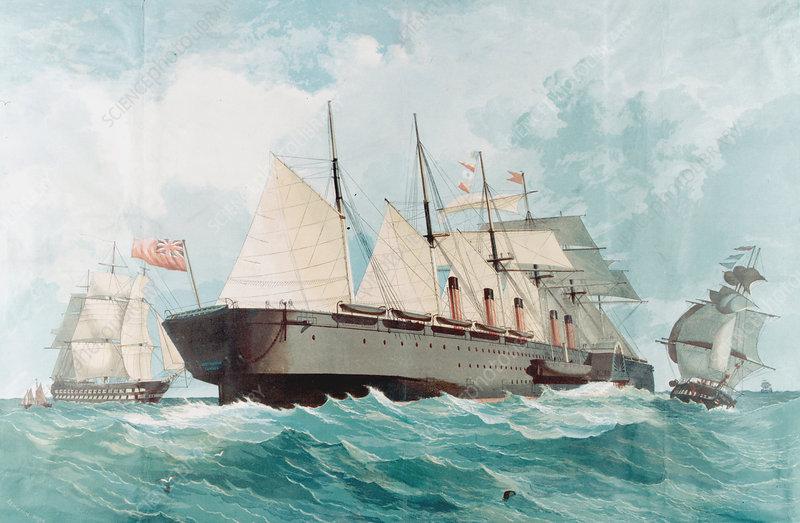 SS 'Great Eastern', IK Brunel's great steam ship, 1858
