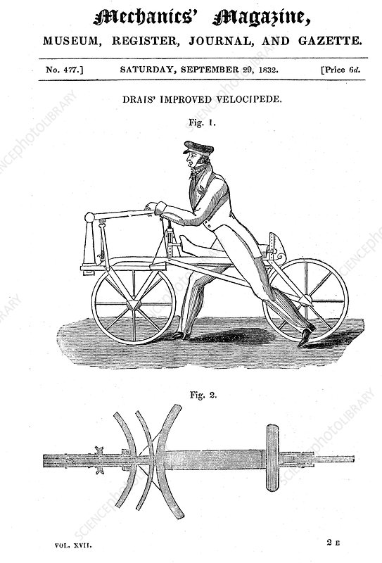 Baron von Drais's bicycle (Draisienne) Exhibited Paris 1818