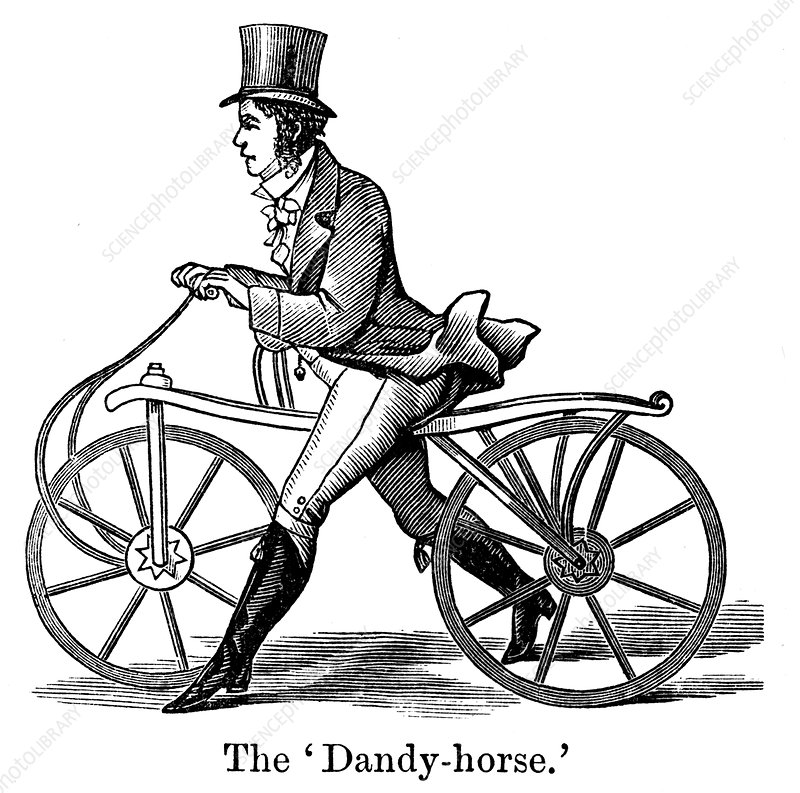 A Dandy-Horse or Draisienne of the type fashionable c1820