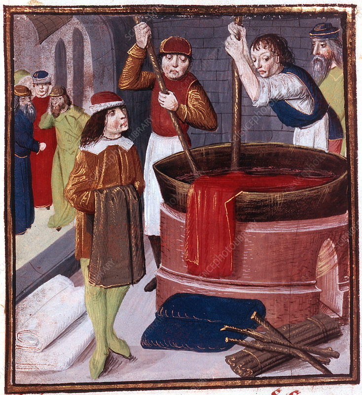 Dyers immersing bolt of cloth in vat of dye