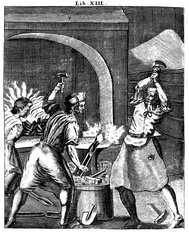 Blacksmiths at work, 1715