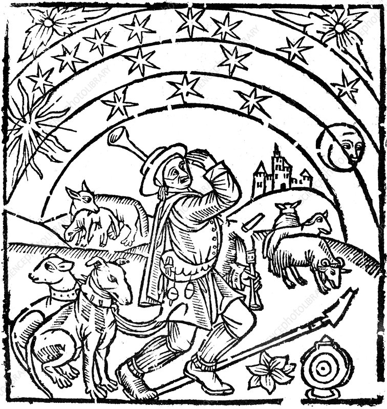 Shepherd guarding his flock at night, early 16th century