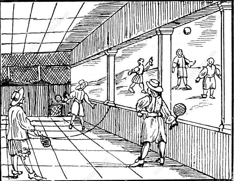 Young men playing a form of tennis, 16th century