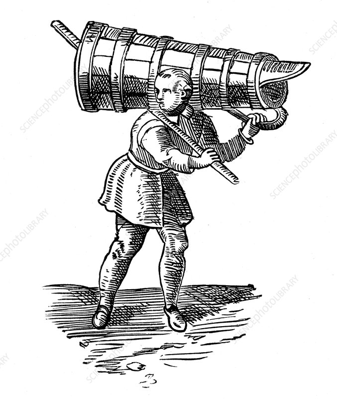 Apprentice carrying a wooden vessel to fetch water