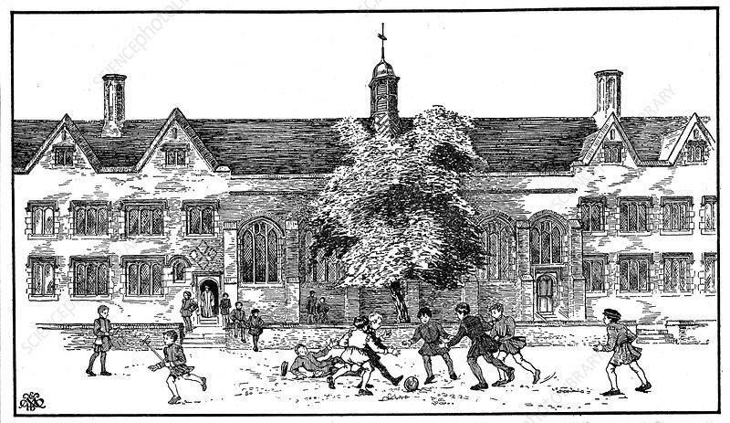 Boys in Tudor times playing football