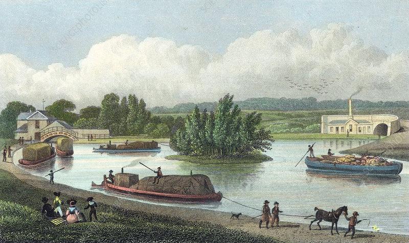 Junction of Regent's Canal at Paddington Basin, London, 1828