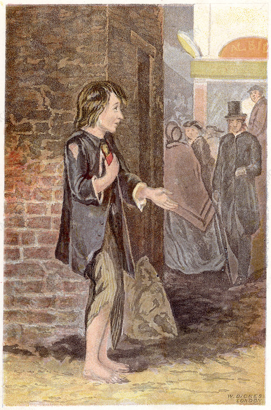 A poor boy, shoeless and in rags, begging on a street corner