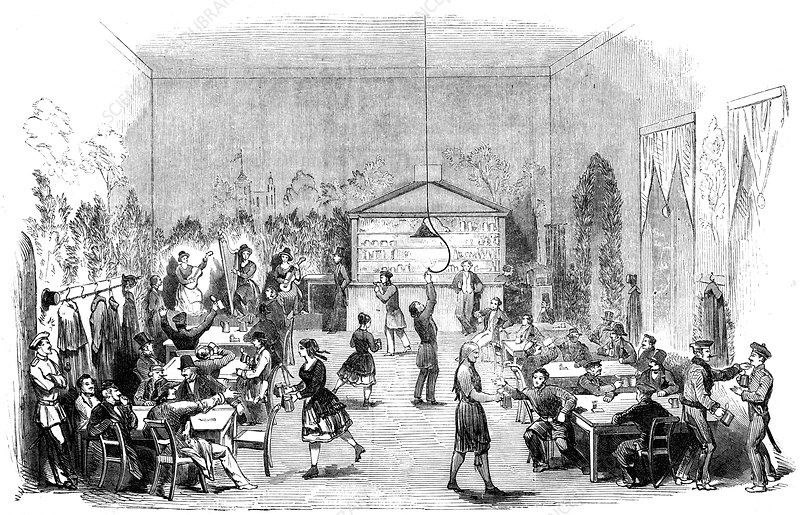 Waitresses on roller skates in a Berlin beer cellar, 1851